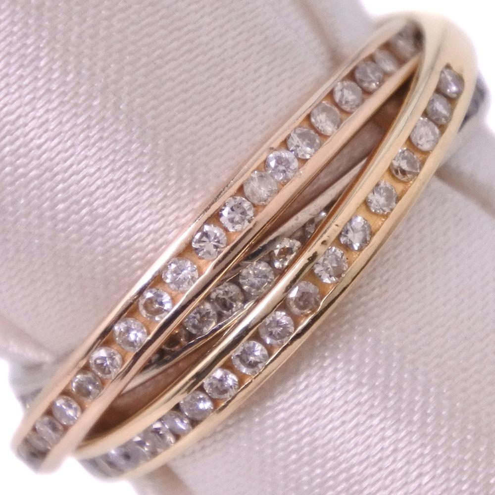トリニティリング K18ゴールド×ダイヤモンド 13.5号 D0.50刻印 レディース リング・指輪【中古】SAランク