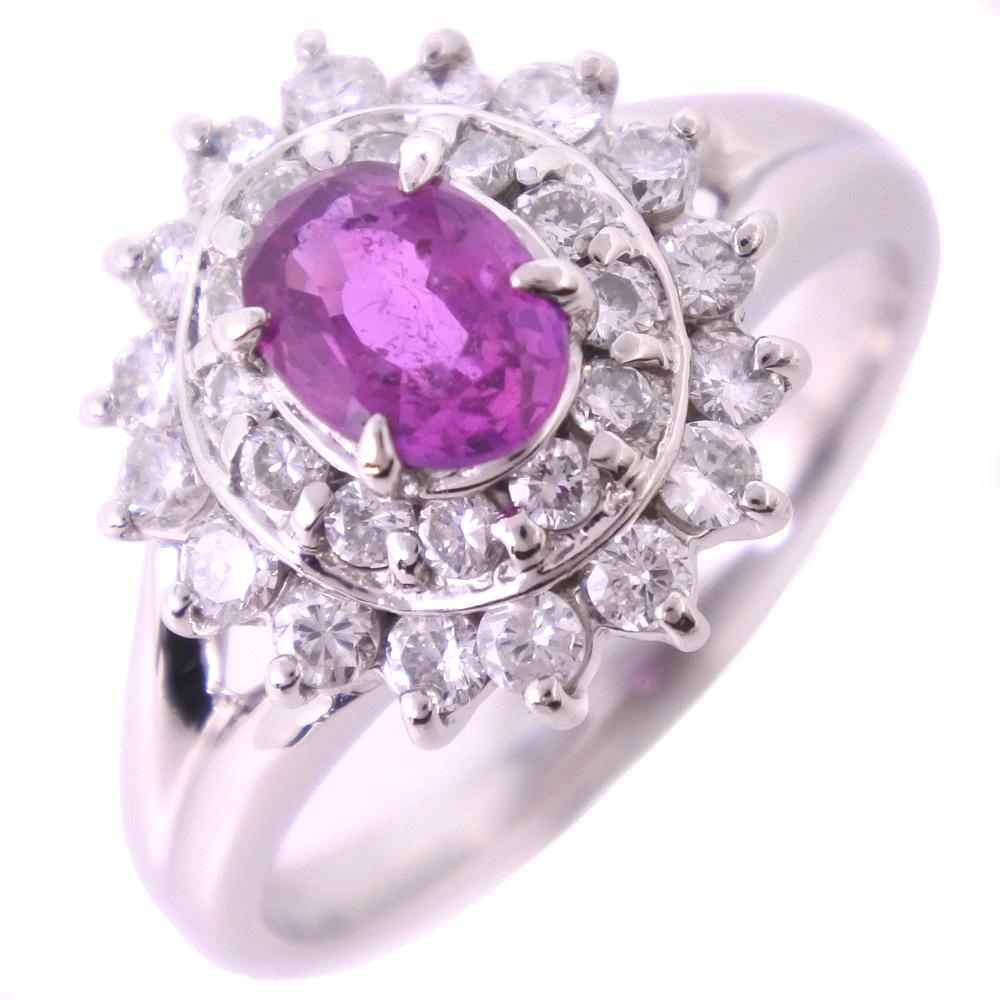 Pt850プラチナ×ルビー×ダイヤモンド 10.5号 R0.70/D0.59刻印 レディース リング・指輪【中古】SAランク