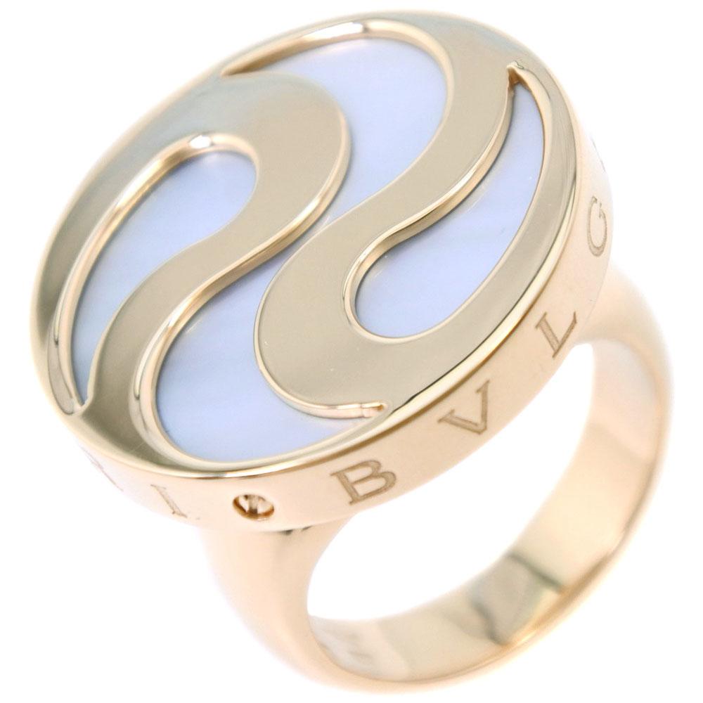 【BVLGARI】ブルガリ オプティカル K18イエローゴールド×ホワイトシェル 14号 レディース リング・指輪【中古】SAランク