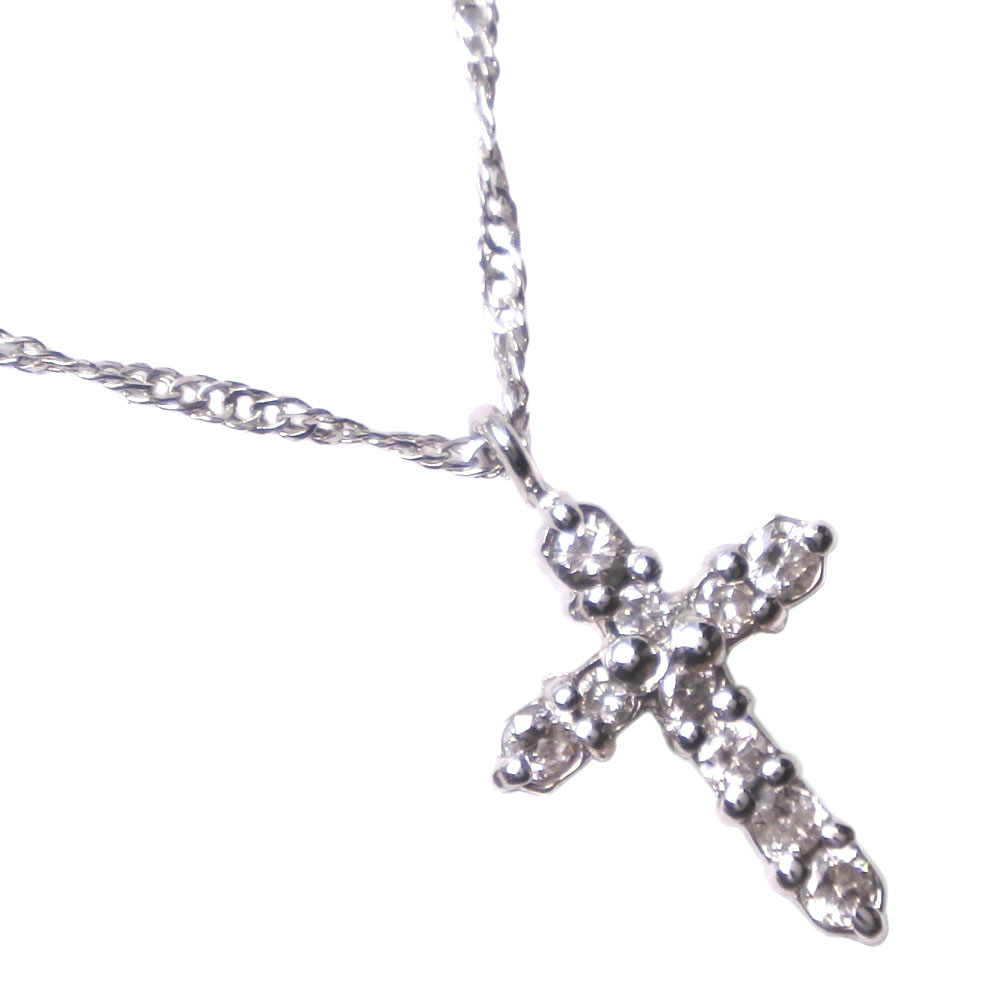 クロス Pt850プラチナ×ダイヤモンド 0.1刻印 レディース ネックレス【中古】SAランク