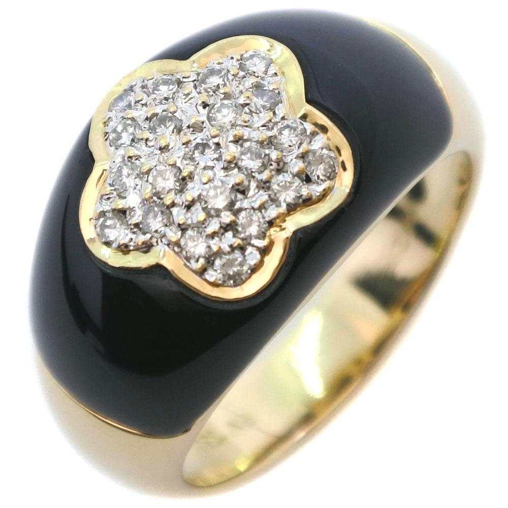 【Ponte Vecchio】ポンテヴェキオ スター K18イエローゴールド×オニキス×ダイヤモンド 12号 0.21刻印 レディース リング・指輪【中古】SAランク