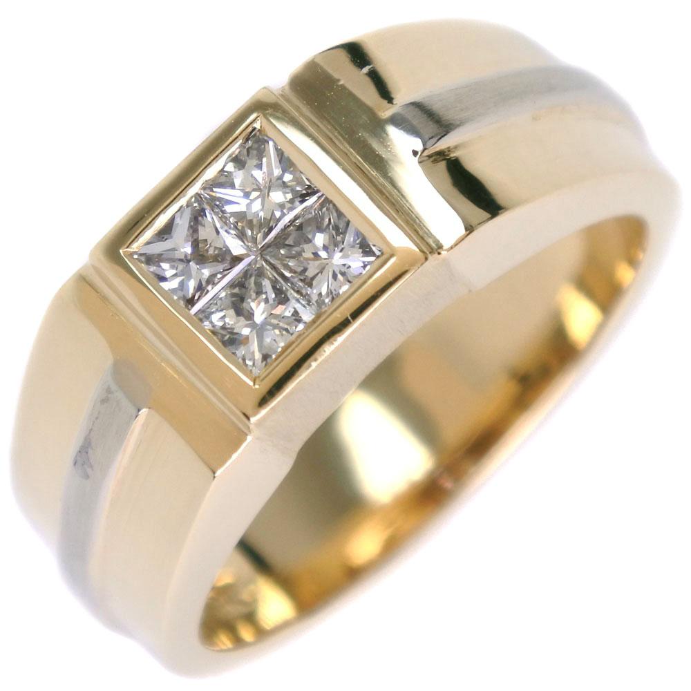 印台 K18ゴールド×ダイヤモンド 19号 メンズ リング・指輪【中古】Aランク