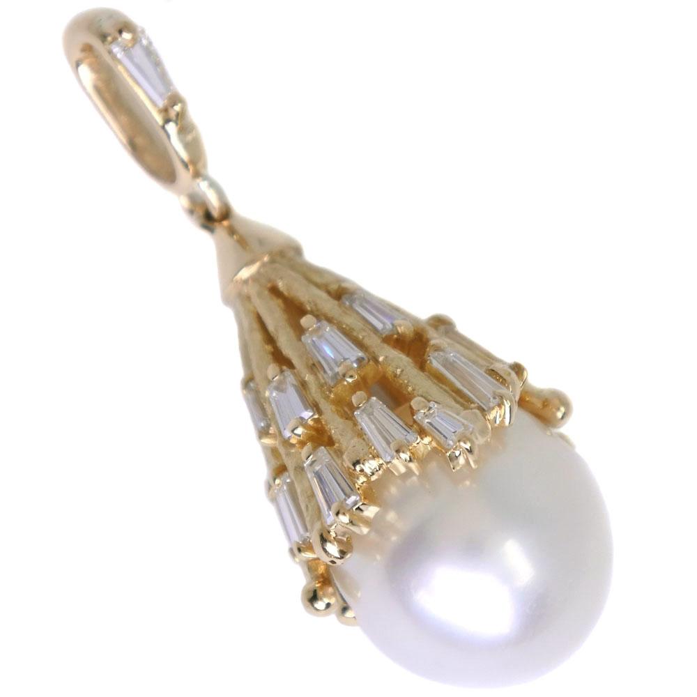 真珠 12mm K18イエローゴールド×パール×ダイヤモンド 0.34刻印 レディース ペンダントトップ【中古】SAランク