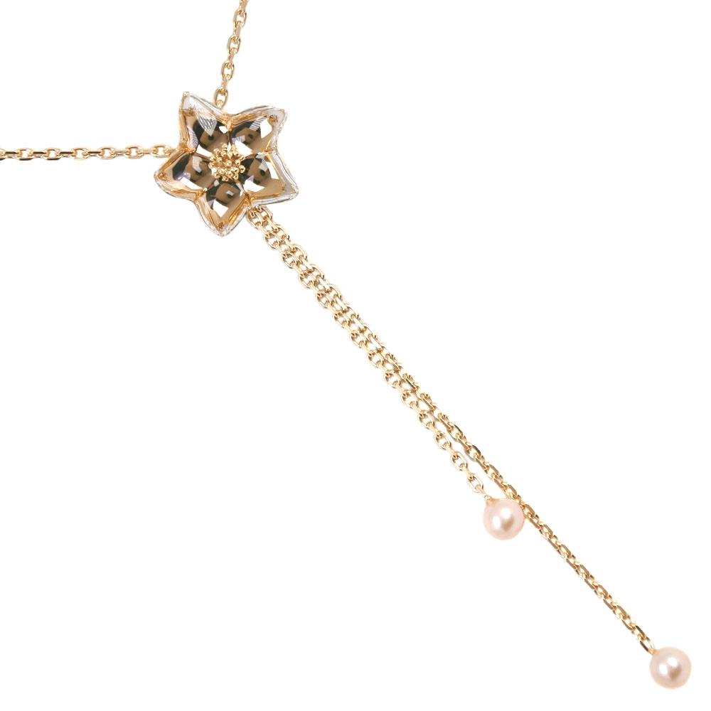 全品送料無料 ネックレス Baccarat バカラ 毎日がバーゲンセール 真珠 正規激安 K18イエローゴールド×パール×ガラス レディース 中古