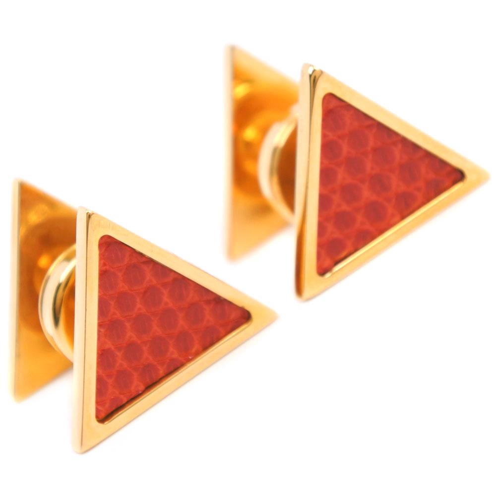 【HERMES】エルメス 三角形 GP×リザード レッド ゴールド メンズ カフス【中古】Aランク