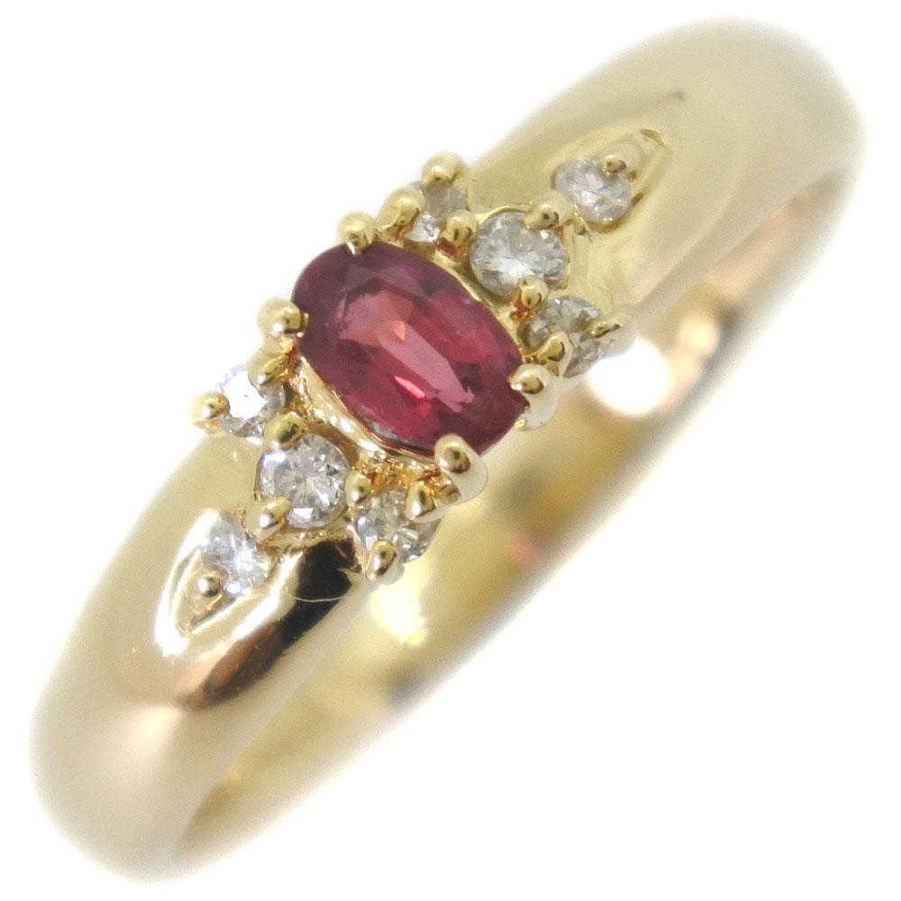 K18イエローゴールド×ルビー×ダイヤモンド 12号 0.10/R0.24刻印 レディース リング・指輪【中古】SAランク