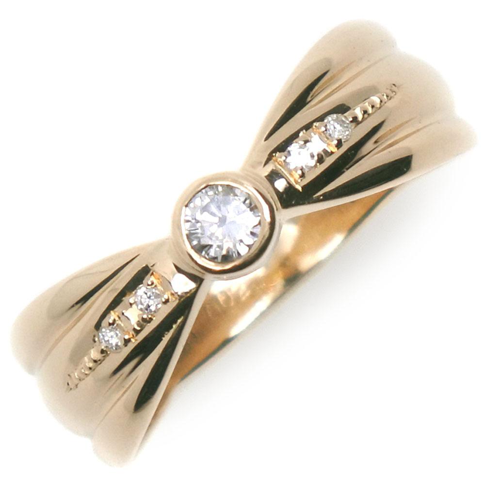 全品送料無料 リング 指輪 返品送料無料 K18イエローゴールド×ダイヤモンド 10.5号 中古 A+ランク レディース 0.10 ◆高品質 0.02