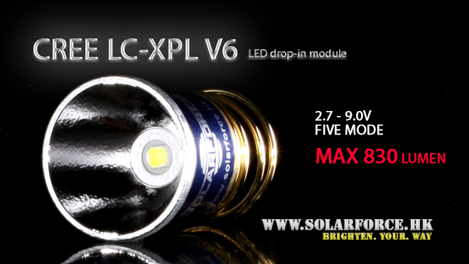 ソーラーフォース Cree LED XP-L V6 バルブ 電球 ドロップインモジュール 5モード 電圧2.7V-9V対応 Solarforce 懐中電灯/フラッシュライト用 P60互換 シュアファイア / ウルトラファイア / G&Pの一部ライトに装着可能 送料無料