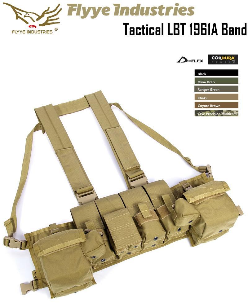 1961A チェストリグ Flyye フライ Tactical LBT 1961A Band 色/ KH カーキ サバゲー装備品 ロードベアリングチェストリグ 1000Dナイロン マガジンポーチ/ ユーティリティポーチ付き 防水 FY-VT-C001-KH