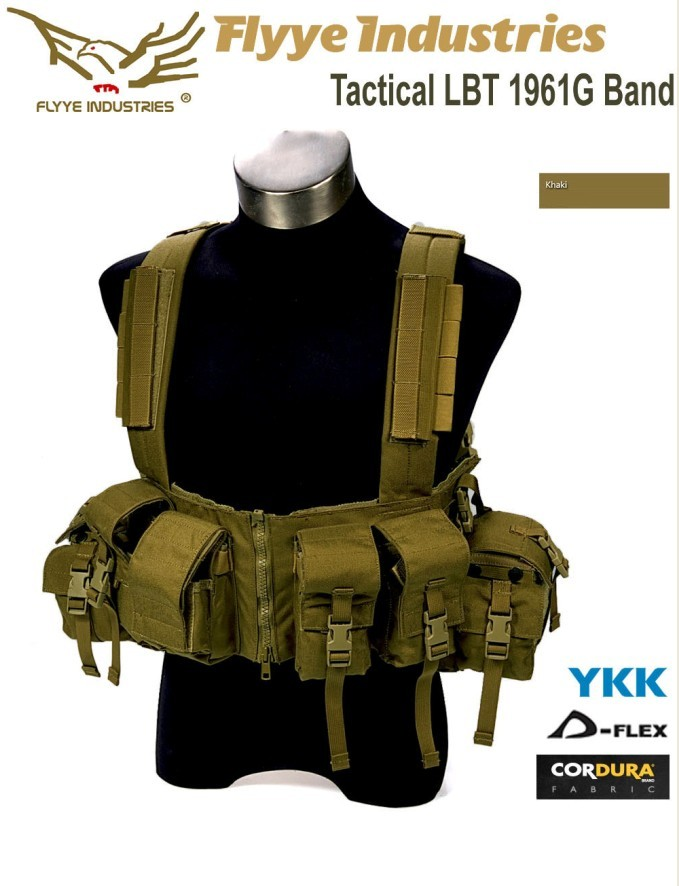 1961G チェストリグ Flyye フライ Tactical LBT 1961G Band 色/ KH カーキ サバゲー装備品 ロードベアリングチェストリグ 1000Dナイロン マガジンポーチ/ ユーティリティポーチ付き 防水 FY-VT-C014-KH