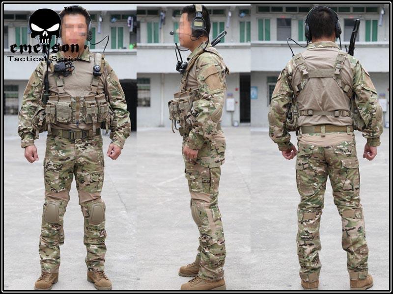 EMERSON BDU 上下セット Gen2 G2 コンバット MC マルチカム 迷彩服 サバゲー 用 CYREタイプ エルボー/ニーパッド付 S/M/L/XL/XXL