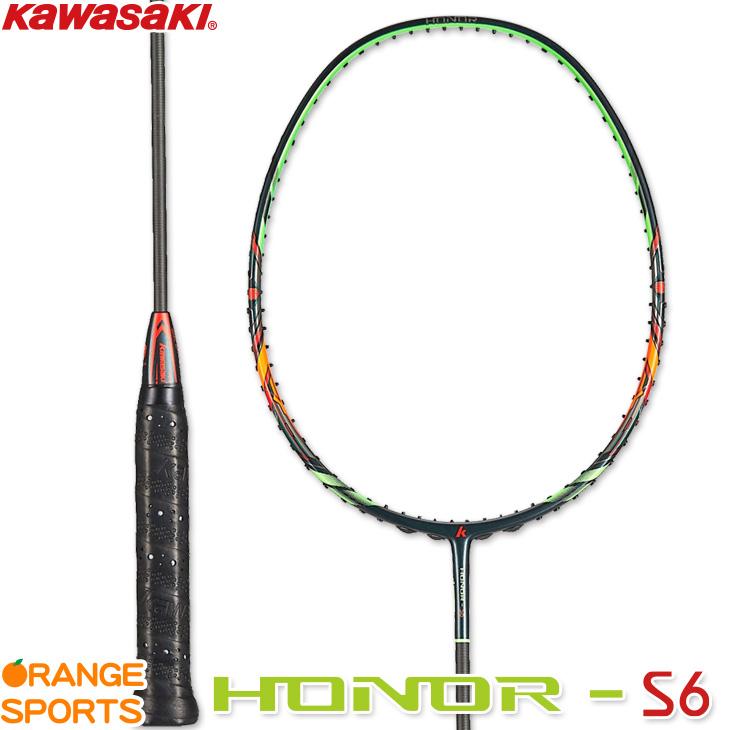 カワサキ KAWASAKI オナー S6 HONOR S63 バドミントンラケット 4U5(82g) グリーンxオレンジ(GRxOR)