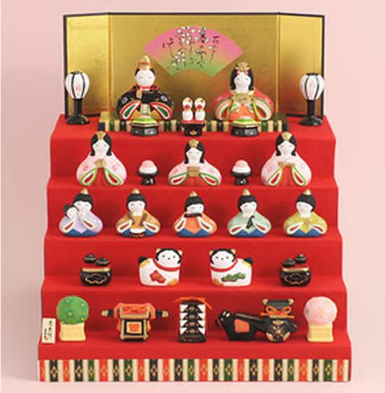 雛人形 瀬戸焼 薬師窯錦彩 華みやび 五段飾り 誕生日 お祝い プレゼント ギフト 内祝い お返し