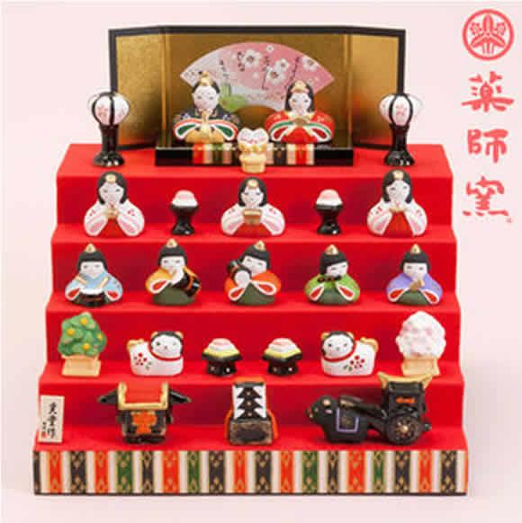 雛人形 瀬戸焼 薬師窯錦彩 花かざり雛 五段飾り 誕生日 お祝い プレゼント ギフト 内祝い お返し