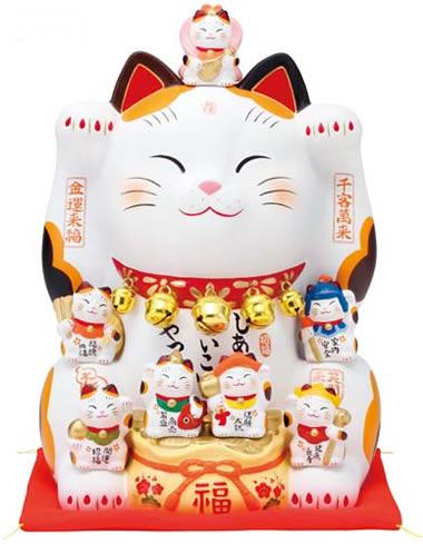 【楽ギフ_のし】 【薬師窯 招き猫 錦彩 七福神招き猫 (8.5号) 縁起物 開店祝い 新築祝い 長寿祝い 快気祝い 贈り物 ギフト