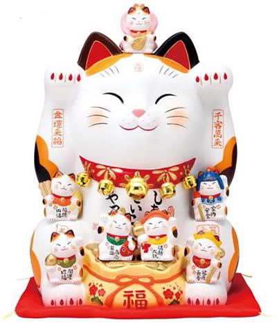 【楽ギフ_のし】 【薬師窯 招き猫 錦彩 七福神招き猫 (12号) 縁起物 開店祝い 新築祝い 長寿祝い 快気祝い 贈り物 ギフト