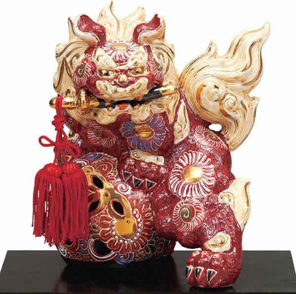 【楽ギフ_のし】 伝統工芸品 九谷焼 6号 剣獅子 「盛」(台 房付)(K6-1632) 縁起置物 厄除け 魔除け 新築祝 引越祝 暦祝祝 海外へのお土産