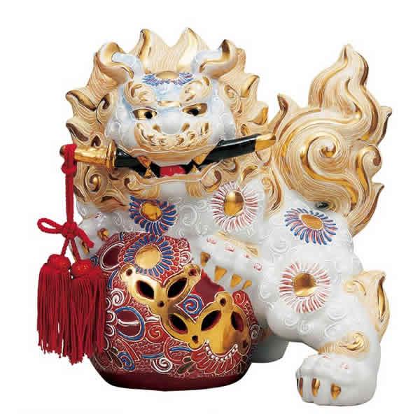 【楽ギフ_のし】 伝統工芸品 九谷焼 8号 剣獅子 「白盛」 (房付)(K6-1636) 縁起置物 厄除け 魔除け 新築祝 引越祝 暦祝祝 海外へのお土産
