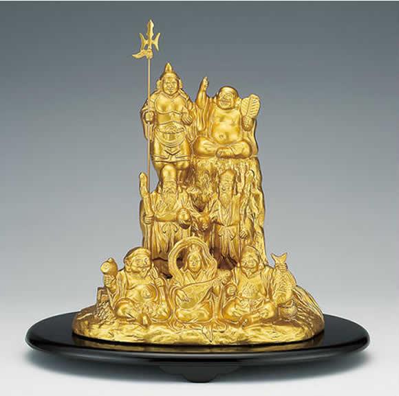 【楽ギフ_のし】 伝統美術工芸品 高岡銅器 合金製 夢七福神 (金色) 新築祝、結婚祝い、 昇進祝い 栄転祝い、誕生日祝、結婚記念品、敬老の日、父の日、
