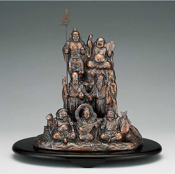 【楽ギフ_のし】 伝統美術工芸品 高岡銅器 合金製 夢七福神 (胴古色) 新築祝、結婚祝い、 昇進祝い 栄転祝い、誕生日祝、結婚記念品、敬老の日、父の日、