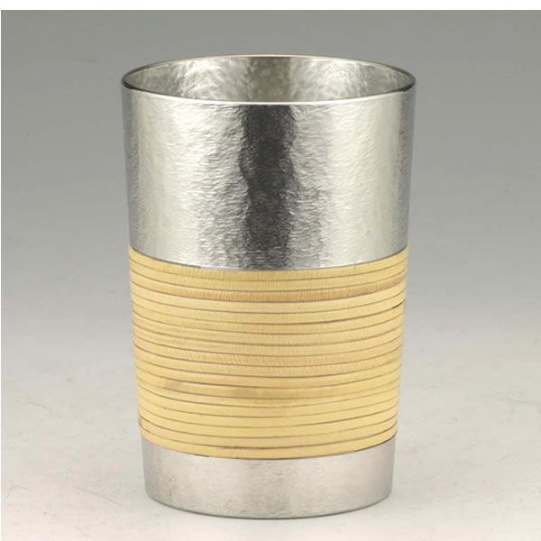 【伝統工芸】大阪錫器 錫製 シルキーシリーズ 焼酎杯 籐巻き(280ml) 桐箱入り ギフト 誕生日 贈り物 父の日 敬老の日 記念品