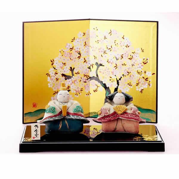 雛人形 美濃焼・ひさみ窯 雛人形 「平安手作り座雛飾り」 (屏風、飾り台、立札付き)・・可愛いお子様、お孫さんにどうぞ! 誕生日 お祝い プレゼント ギフト 内祝い お返し