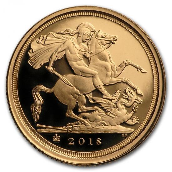 新品未使用 2018 イギリス クオーター ソブリン金貨  プルーフ 4650枚限定