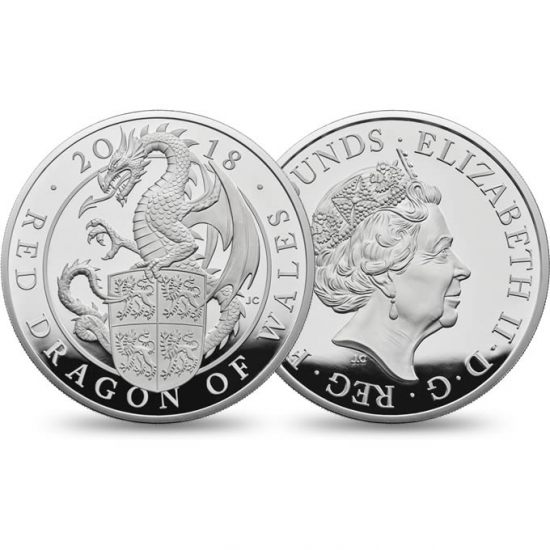 新品未使用 2018 イギリス Great Britain 10オンス 銀貨 クィーンズビースト (The Dragon)「プルーフ箱付き」600枚限定