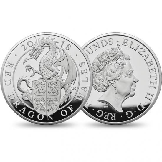 新品未使用 2018 イギリス Great Britain 5オンス 銀貨 クィーンズビースト (The Dragon)「プルーフ箱付き」200枚限定
