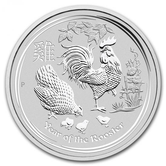 新品未使用 2017 オーストラリア 干支 鳥 銀貨 1オンス 「5枚セット」 クリアーケース付き