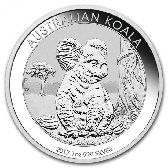 新品未使用 2017 オーストラリア コアラ銀貨 1オンス 5枚セット 41mmクリーアーケース付き