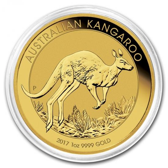 新品未使用 2017 オーストラリア、カンガルー金貨 1オンス 32mmクリアーケース付き
