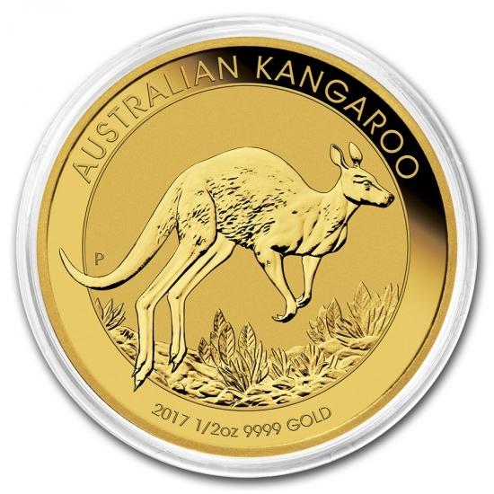新品未使用 2017  オーストラリア、カンガルー金貨 1/2オンス 26mmクリアーケース付き