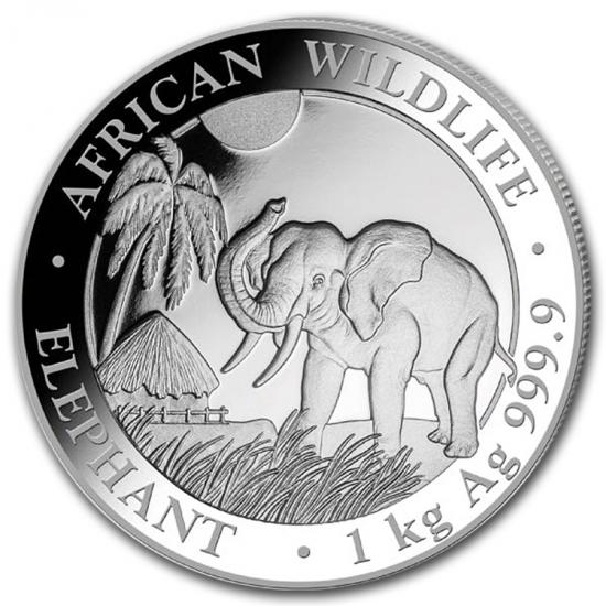 新品未使用 2017  アフリカ  ソマリア エレファント銀貨 1キロ  100.3mmクリアーケース付き