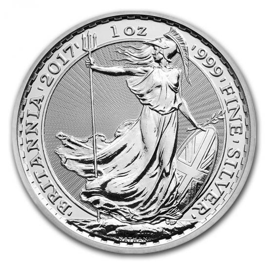 新品未使用 2017 イギリス ブリタニア銀貨1オンス 5枚セット (39mmクリアーケース5枚付き)