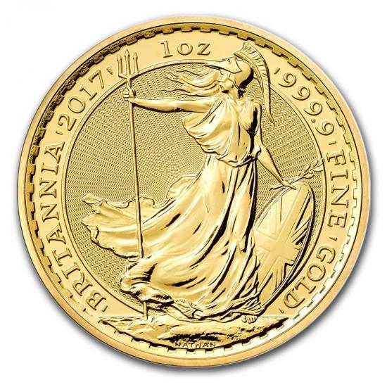 新品未使用 2017 イギリス ブリタニア金貨 1オンス 33mmクリアーケース付き