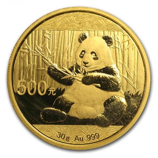 新品未使用 2017年 中国  パンダ金貨 30グラム 500元 10枚セット真空パック入り