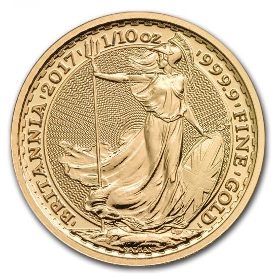 新品未使用 2017 イギリス ブリタニア金貨1/10オンス 17mmクリアーケース付き