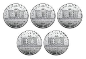 新品未使用 2017 オーストリア ウィーン銀貨 1オンス 5枚セット 37mmクリアーケース5枚付き