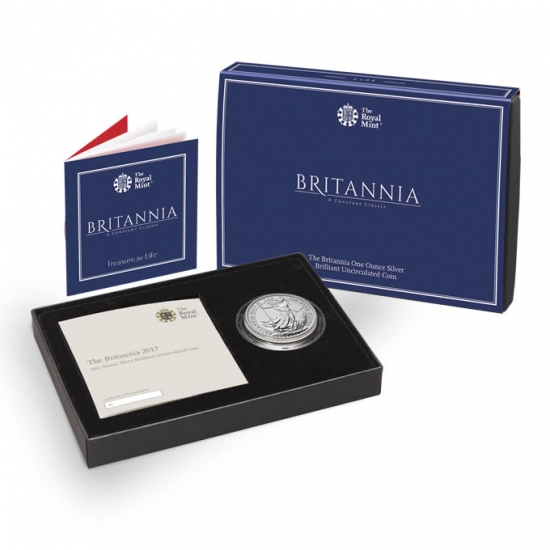 新品未使用 2017 イギリス ブリタニア銀貨1オンス 【箱と説明書付き】