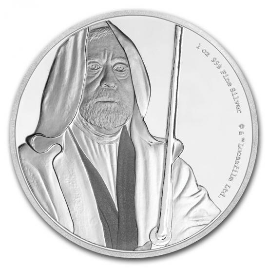 新品未使用 2017 オーストラリア 1オンス銀貨 2ドル スターウォーズ Star Wars(Obi-Wan Kenobi) (箱と説明書付)