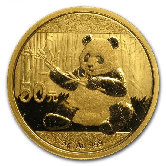 新品未使用 2017年 中国  パンダ金貨 3グラム 50元 真空パック入り
