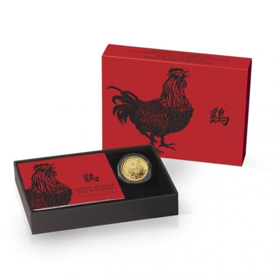 新品未使用 イギリス 干支 鳥 金貨 1/10オンス 2017年製 クリアーケースと箱付き