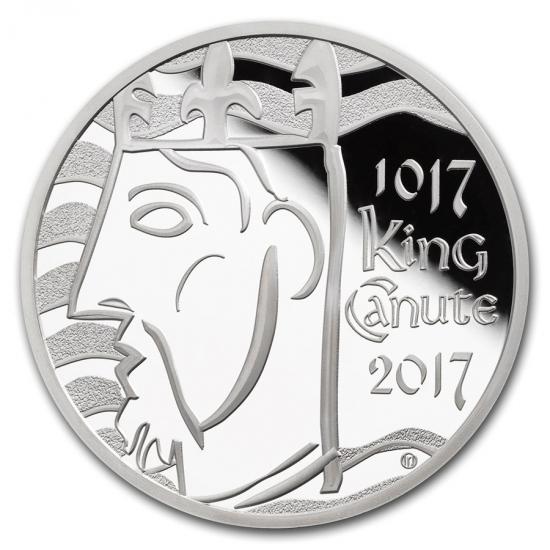 新品未使用 2017 イギリス クヌート1世戴冠1000年記念 銀貨 5ポンド プルーフ 箱と説明書付き