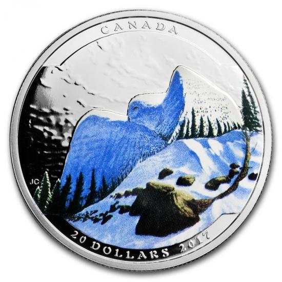 新品未使用 2017 カナダ  風景 イリュージョン 白フクロウ 銀貨 箱付き