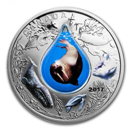 新品未使用 2017 カナダ 3D 水滴  銀貨 1オンス
