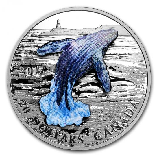 新品未使用 2017 カナダ 3D クジラ  銀貨 1オンス