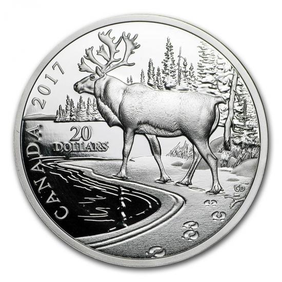 新品未使用 2017 カナダ カリブー 銀貨 1オンス