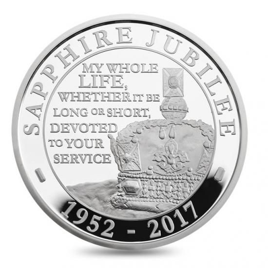 新品未使用 2017 イギリス 56.56g プルーフ 銀貨 サファイアジュビリー (ピエフォー)