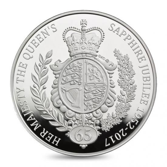 新品未使用 2017 イギリス 1KG プルーフ 銀貨 サファイアジュビリー